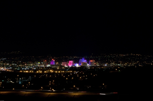 Night Photo of Reno, NV from Northeast of Downtown